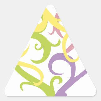 corazón en colores pastel del tatuaje de la vid pegatina de triangulo personalizadas