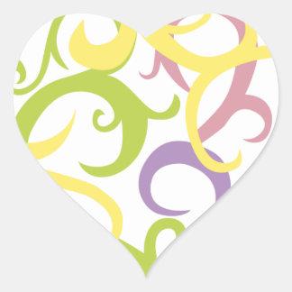 corazón en colores pastel del tatuaje de la vid colcomanias corazon
