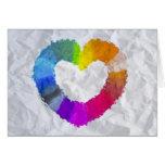 Corazón en colores pastel tarjetón