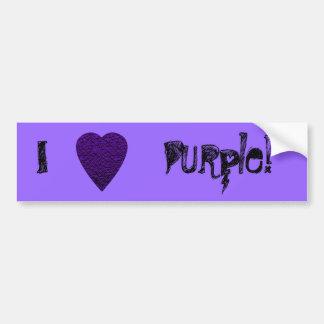 Corazón en colores púrpuras. Diseño modelado del c Etiqueta De Parachoque
