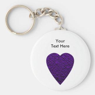 Corazón en colores púrpuras. Diseño modelado del c Llavero Redondo Tipo Pin