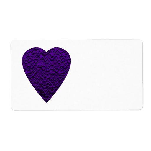 Corazón en colores púrpuras. Diseño modelado del Etiqueta De Envío
