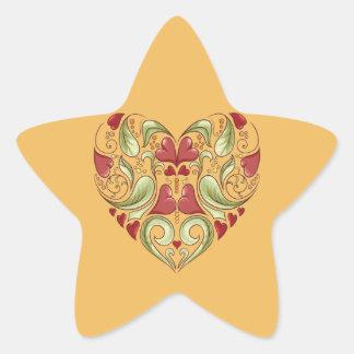 Corazón-En-Corazón-En-Cera de Colcomanias Forma De Estrella Personalizadas