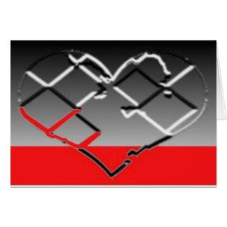 Corazón en cromo, negro y rojo felicitaciones