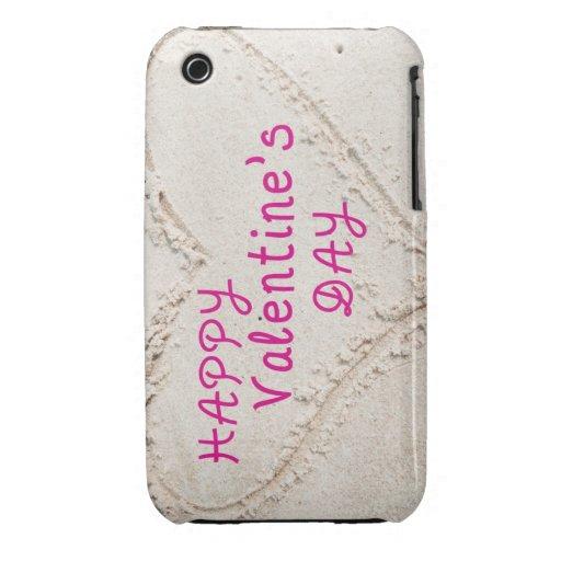 Corazón en día de San Valentín feliz de la arena iPhone 3 Case-Mate Carcasas