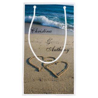 Corazón en el bolso del favor del boda de playa de bolsa de regalo pequeña