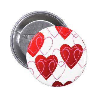 Corazón en el botón de la tarjeta del día de San V Pin Redondo De 2 Pulgadas