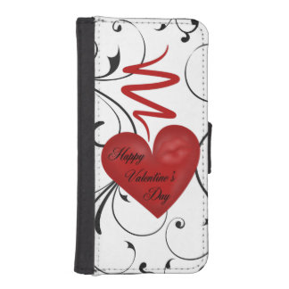 Corazón en el día de San Valentín feliz de la Funda Billetera Para Teléfono