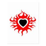 Corazón en el fuego postales