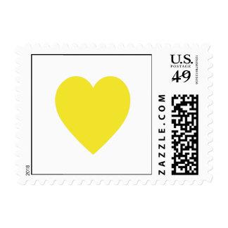Corazón en franqueo amarillo