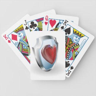 Corazón en icono del escudo 3D Baraja Cartas De Poker