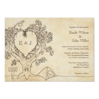 """Corazón en invitaciones de un boda del árbol que invitación 5"""" x 7"""""""