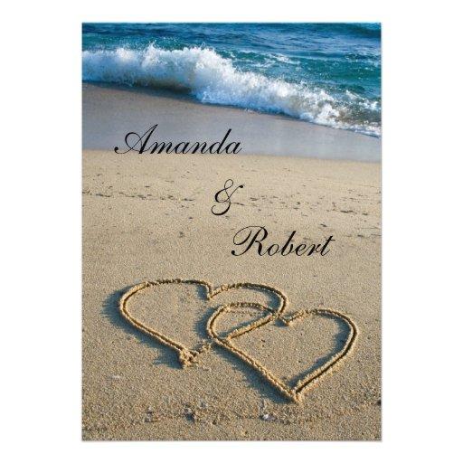 Corazón en la invitación del boda de playa de la o