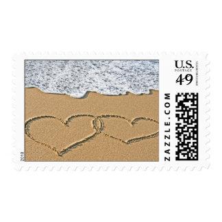 Corazón en la playa sellos postales