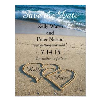 """Corazón en la reserva de la playa de la orilla la invitación 4.25"""" x 5.5"""""""