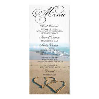 Corazón en la tarjeta del menú de la cena de boda tarjeta publicitaria a todo color