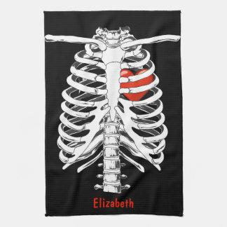 Corazón en la toalla esquelética de Halloween de