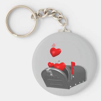 Corazón en las camisetas y los regalos del correo llavero redondo tipo pin