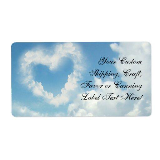 Corazón en las nubes, amor romántico del cielo azu etiqueta de envío