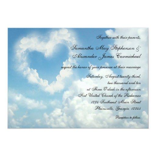 Corazón en las nubes, invitación romántica del invitación 12,7 x 17,8 cm