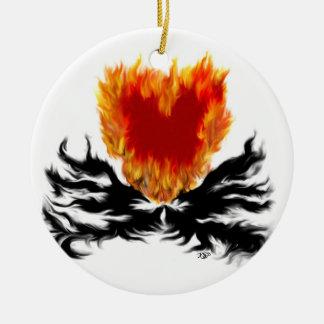Corazón en llamas ornaments para arbol de navidad