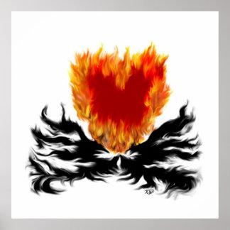 Corazón en llamas póster