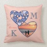 Corazón en melocotón adaptable del azul del marco  almohadas