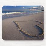 corazón en mousepad de la arena tapetes de raton