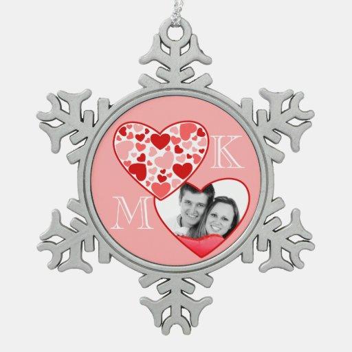 Corazón en rosa rojo del marco adaptable de la fot adorno de peltre en forma de copo de nieve