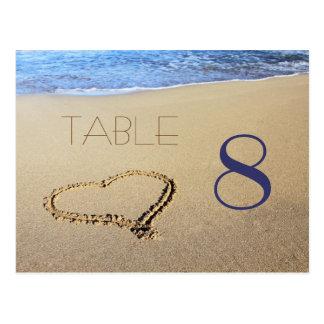 Corazón en tarjetas del número de la tabla de la postal