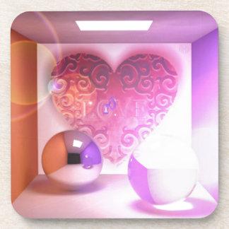 Corazón en una caja posavasos de bebidas