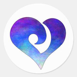 Corazón enganchado estilizado moderno 18 pegatina redonda