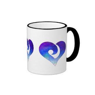 Corazón enganchado estilizado moderno 18 taza de dos colores
