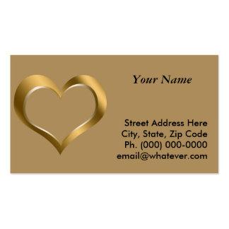 Corazón enmarcado oro tarjetas de visita