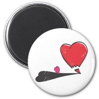 Corazón enojado imán redondo 5 cm