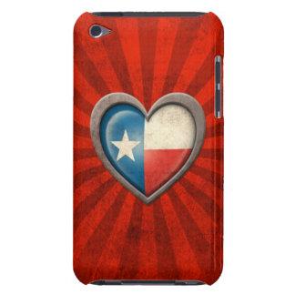 Corazón envejecido de la bandera de Tejas con los iPod Case-Mate Protectores