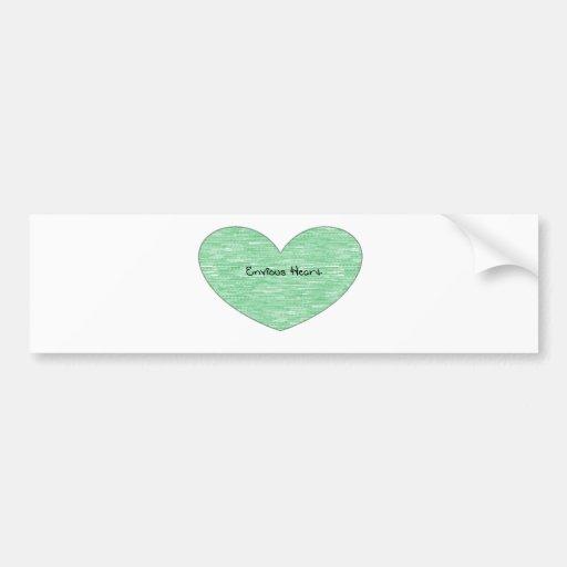 Corazón envidioso verde etiqueta de parachoque