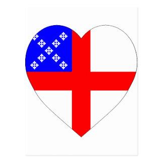 Corazón episcopal de la bandera postal