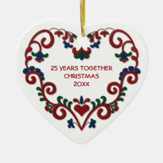 Corazón escandinavo 25 años junto de foto adorno de cerámica en forma de corazón