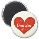 Corazón escandinavo del navidad de julio de dios imán para frigorífico