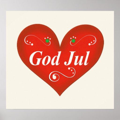 Corazón escandinavo del navidad de julio de dios poster