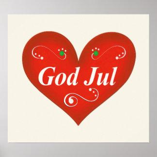 Corazón escandinavo del navidad de julio de dios póster