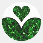 Corazón esmeralda de la gema etiqueta redonda