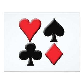 """Corazón, espada, club y diamante invitación 4.25"""" x 5.5"""""""
