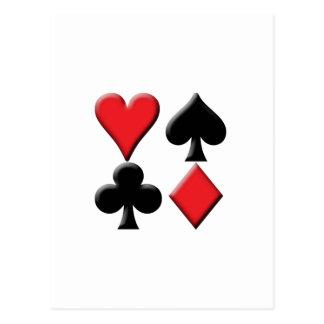 Corazón, espada, club y diamante tarjeta postal