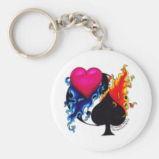 Corazón, espada, Ying y Yand Llavero Redondo Tipo Pin