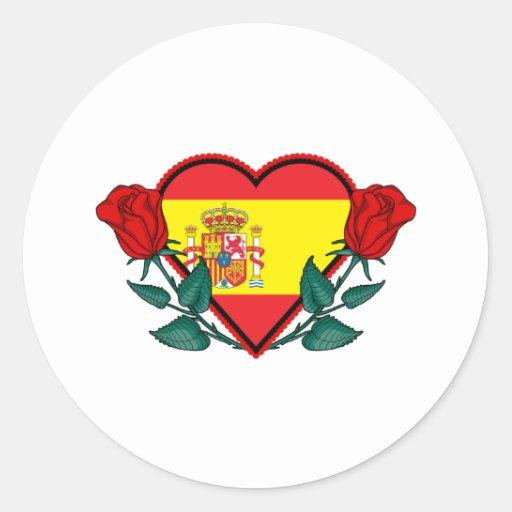 Corazón España Pegatina Redonda