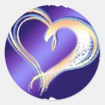 corazón etiqueta redonda