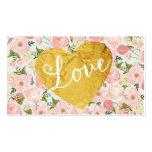 Corazón falso floral del amor del oro del vintage  plantilla de tarjeta personal