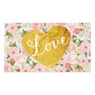 Corazón falso floral del amor del oro del vintage tarjetas de visita